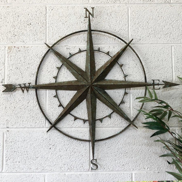 Rustic Metal Compass Garden Wall Art The Farthing Rustic Wall Art