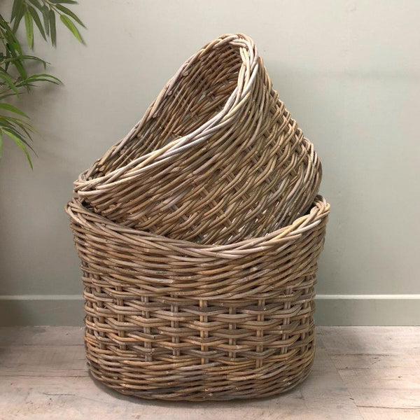 Rustic Oval Rattan Log Basket - Choice of two | The Farthing