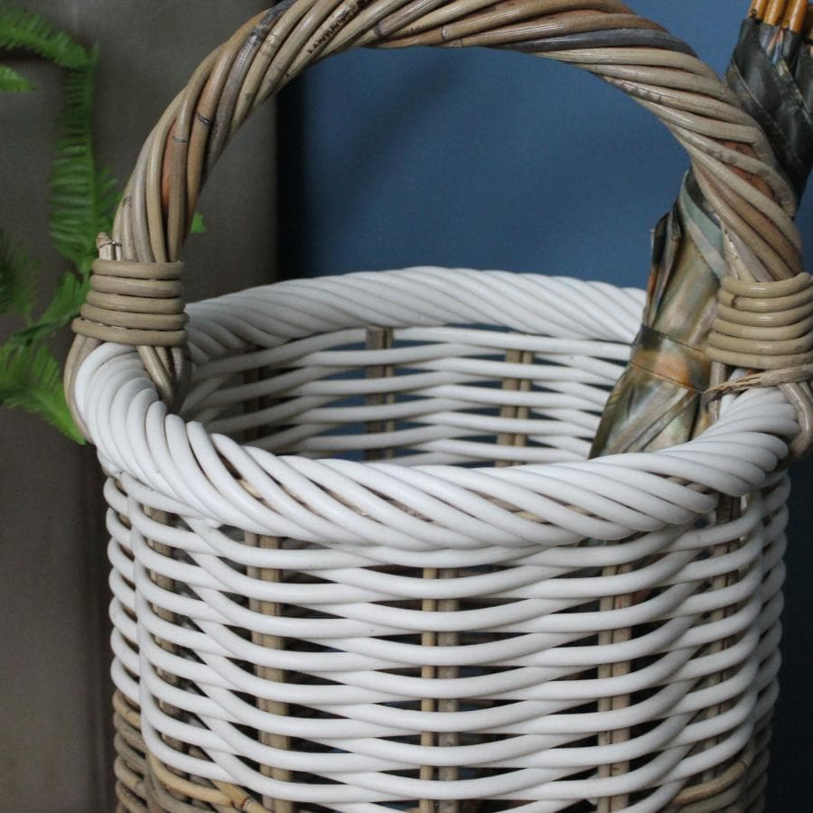 Rustic Rattan Umbrella Basket with Handles at the Farthing