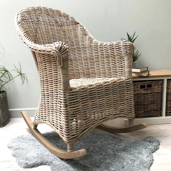 Rustic Rocking Rattan Chair | The Farthing Homewares