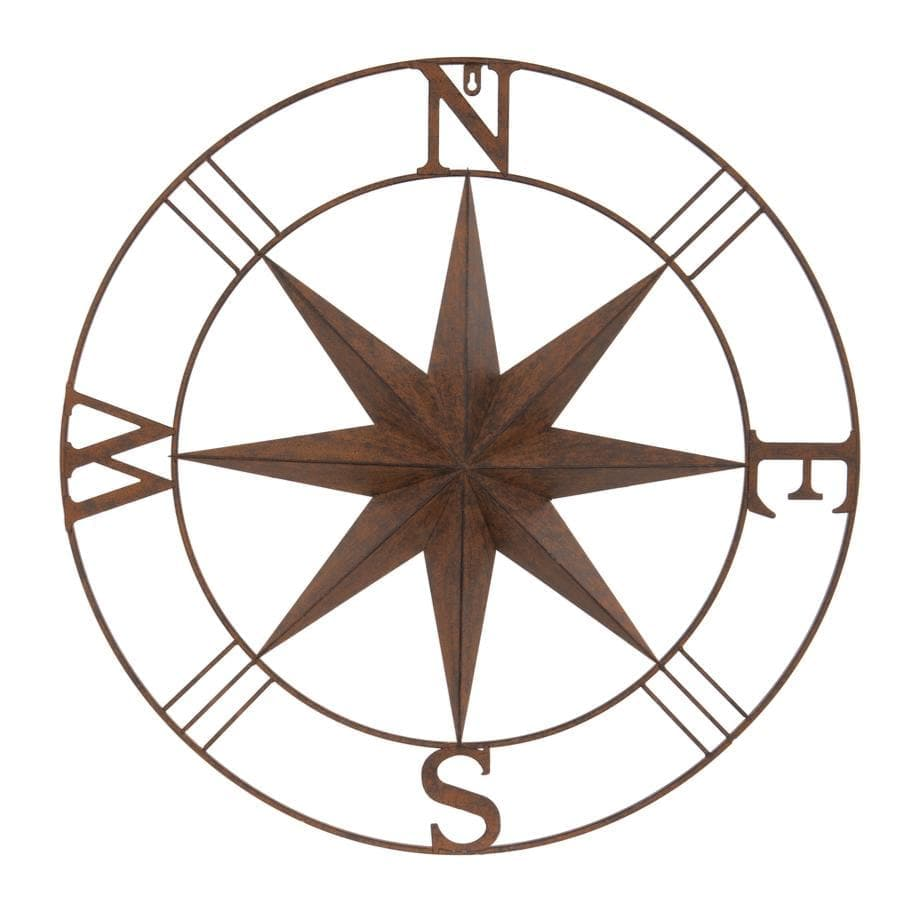 Rustic Round Metal Compass Garden Wall Art