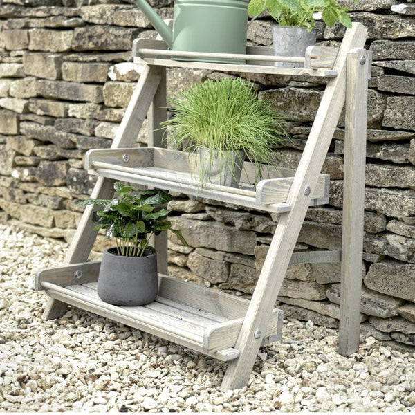 Rustic Wide Wooden Plant Stand at the Farthing