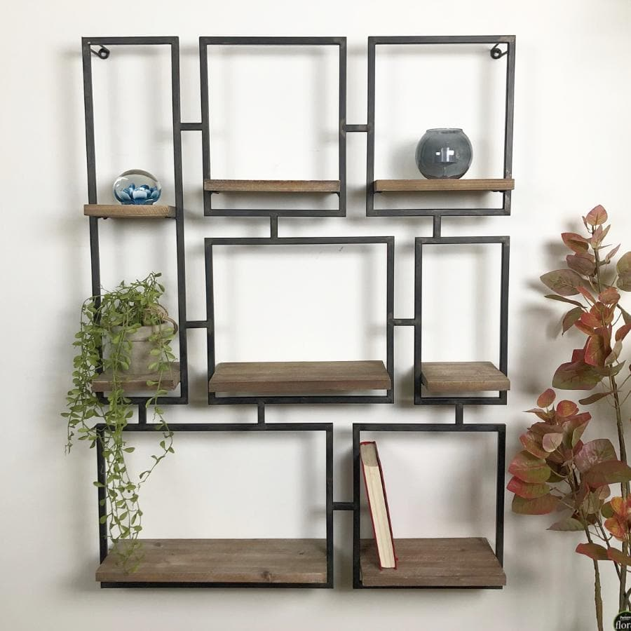 Rustic Wood and Metal Wedmore Wall Shelf | The Farthing