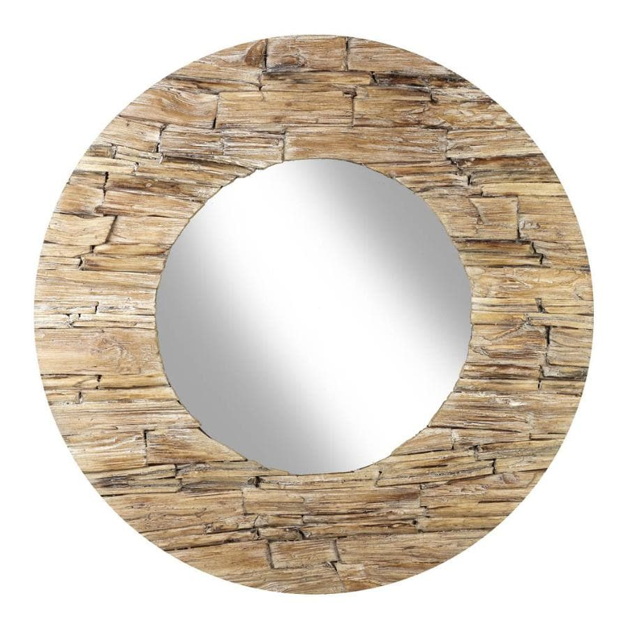 Rustic Weathered Wood Wall Mirror at the Farthing