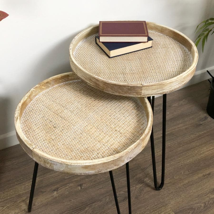 Rustic Woven Topped Round Lipped Side Table at the Farthing