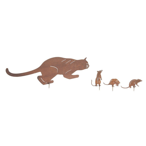 Rusty Garden Cat & Mice Silhouettes - The Farthing