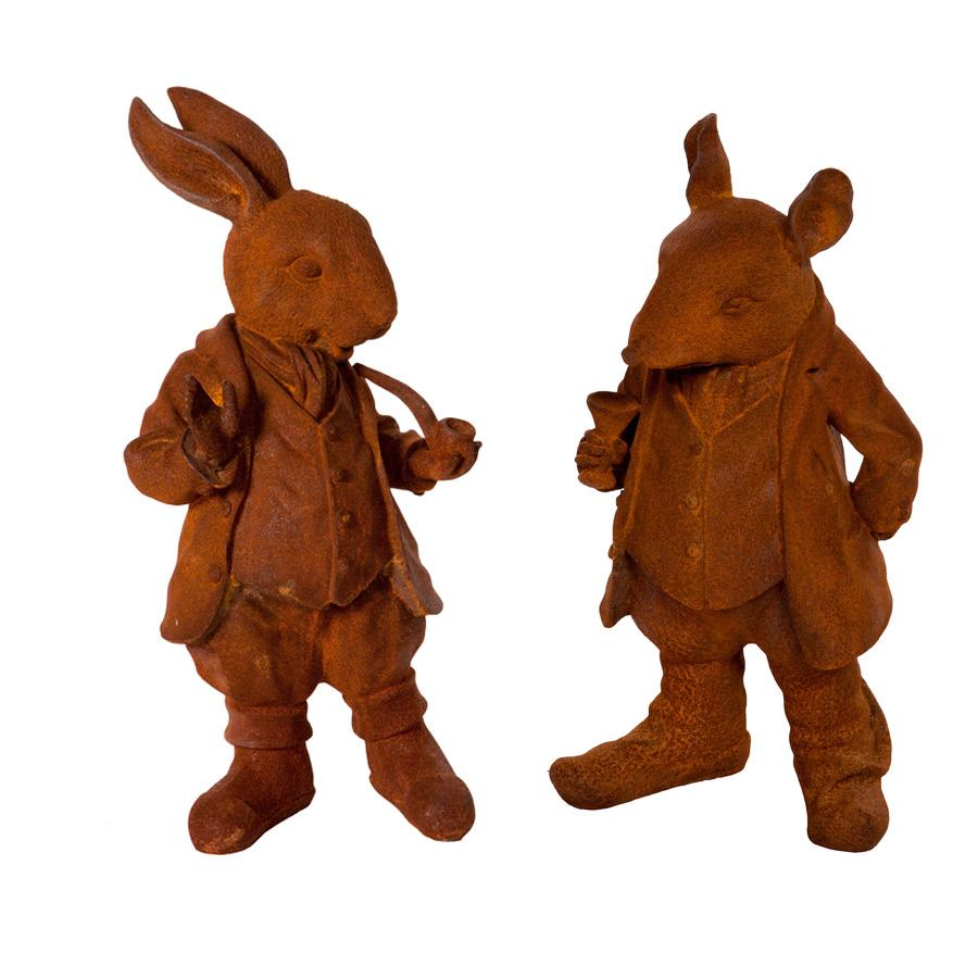 Rusty Red Cast Iron Willows Statue - choice of two Rat and Rabbit at the Farthing