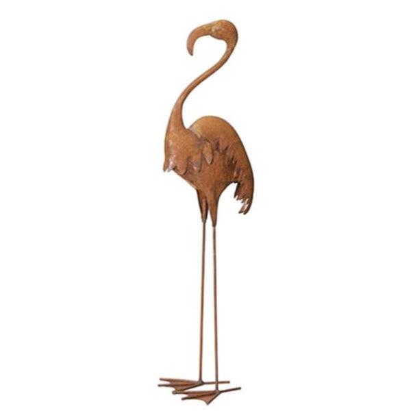 Rusty Flamingo Garden Ornament at the Farthing