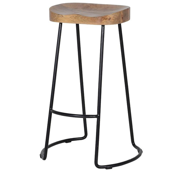 Weathered Wood & Metal Stool at the Farthing