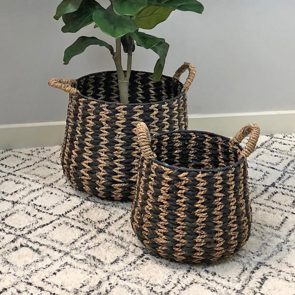 Set Of Two Rustic Arrow Weave Baskets | Farthing