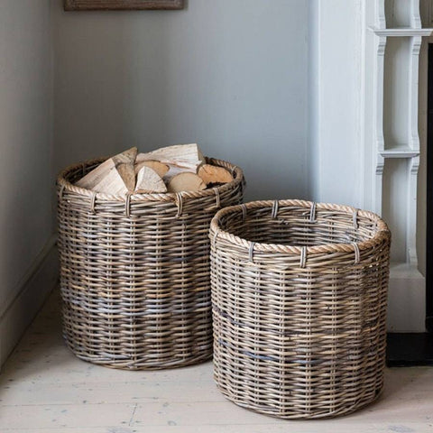 Set of 2 Round Log Baskets with Rope in Rattan - The Farthing  - 1