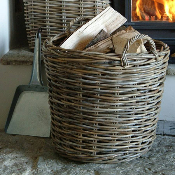 Set of 2 Natural Round Log Basket - Rattan - The Farthing
