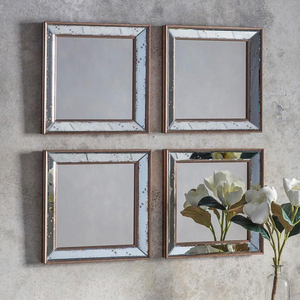 Set of 4 Distressed Square Milton Mirrors | Farthing