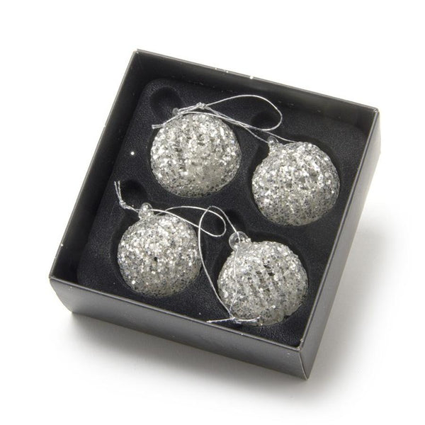 Set of 4 Glittery Round Baubles