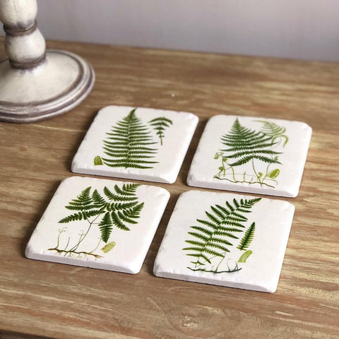 Set of 4 Vintage Fern Coasters at the Farthing