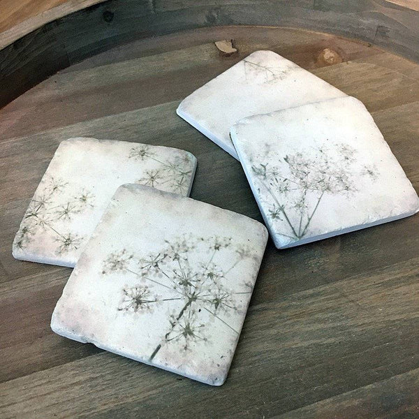Set of 4 Vintage Gypsophila Coasters - The Farthing