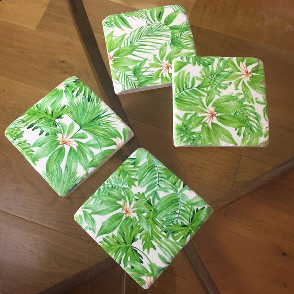 Set of 4 Vintage Print Palm Coasters | Farthing