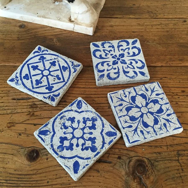 Set of Rustic Blue Delft Coasters - The Farthing