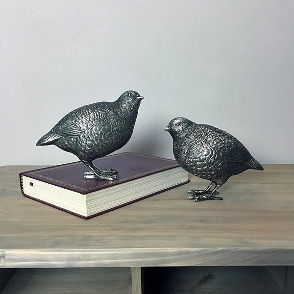 Set of Soft Silver Quails - The Farthing