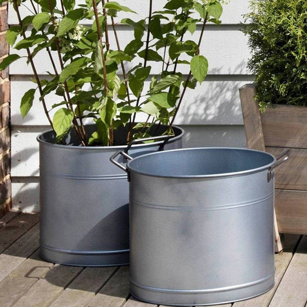 Set of Two Galvanised Metal Planter Buckets - The Farthing