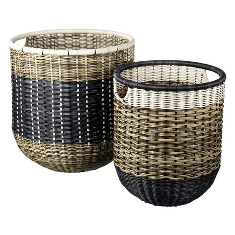 Set of Two Large PE Rattan Baskets