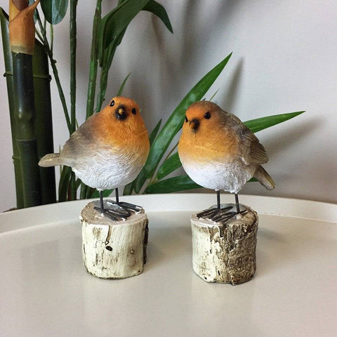 Set of Two Robins on Logs | The Farthing