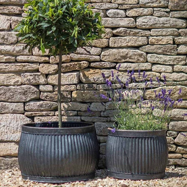 Set of Two Rustic Round Shallow Vence Fluted Zinc Planters - The Farthing