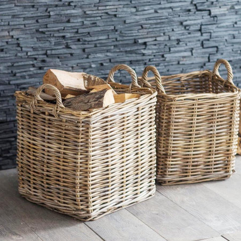 Set of 2 Square Baskets - Rattan at the Farthing