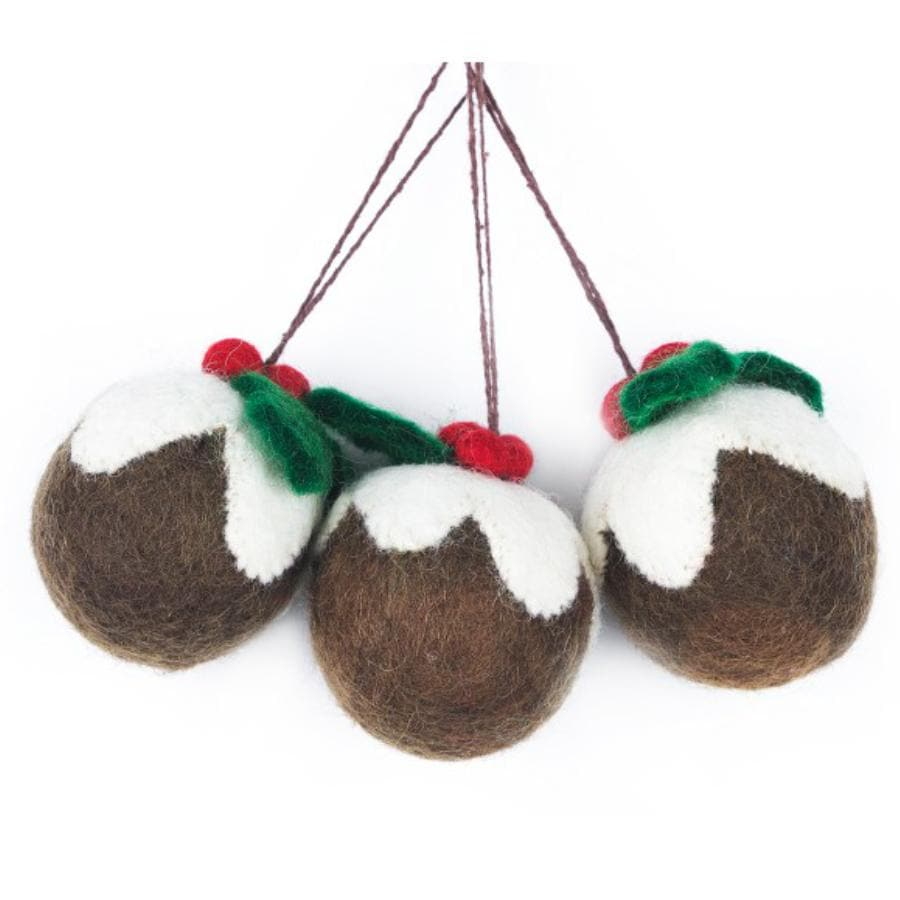 Set of 3 Felt Christmas Puddings 2