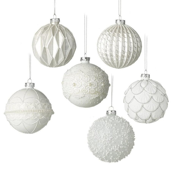 Set of 6 Festive Ivory Patterned Glass Baubles | the Farthing