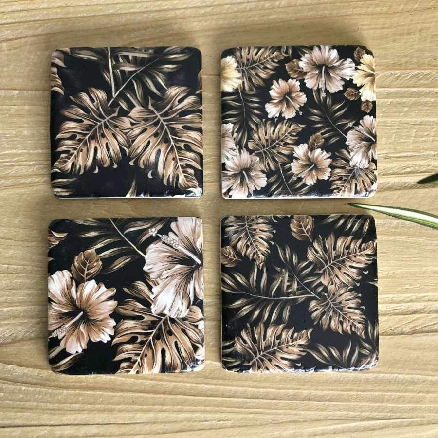 Set of 4 Vintage Hibiscus Coasters at the Farthing