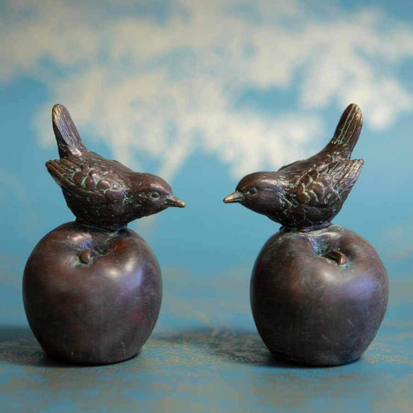 Set of Two Verdigris Bird Ornaments