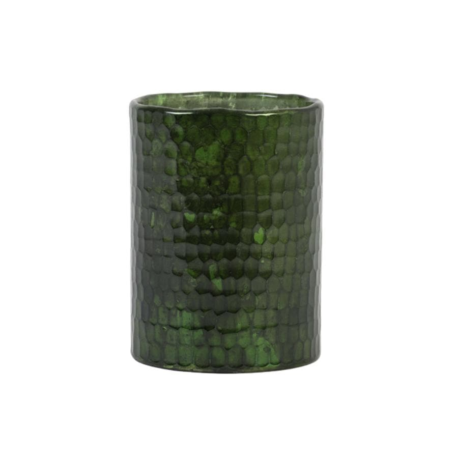 Shiny Green Glass Tea Light Holder