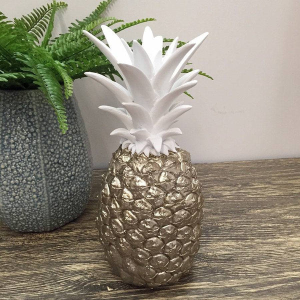 Silver Gold Decorative Pineapple with an Antiqued Finish - The Farthing