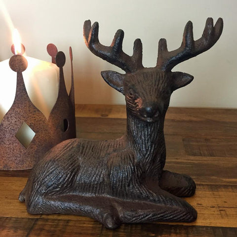 Sitting Stag Statue - Cast Iron at the Farthing