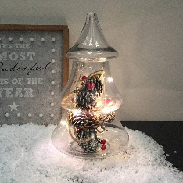 Small Elegant Glass Christmas Tree Jar - The Farthing