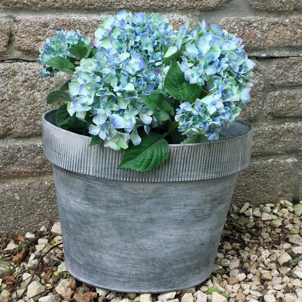 Small Galvanised Metal Cuff Planter at the Farthing