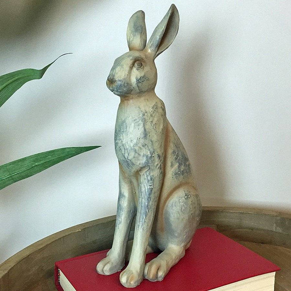 Small Rustic Sitting Hare at the Farthing
