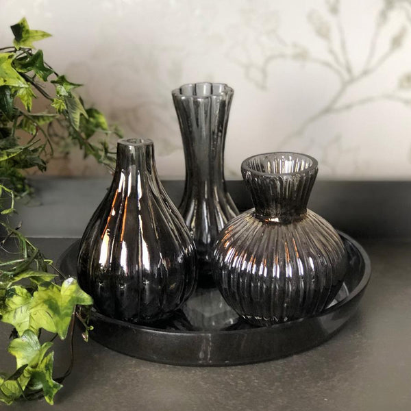 Smoked Glass Bud Vase Set | Farthing 2
