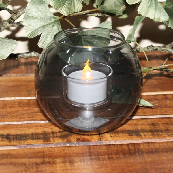 Smoked Glass Tea Light Holder at the Farthing 1