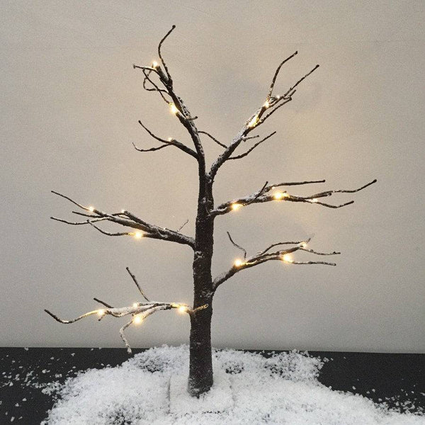 Snowy Brown Led Light Up Tree at the Farthing