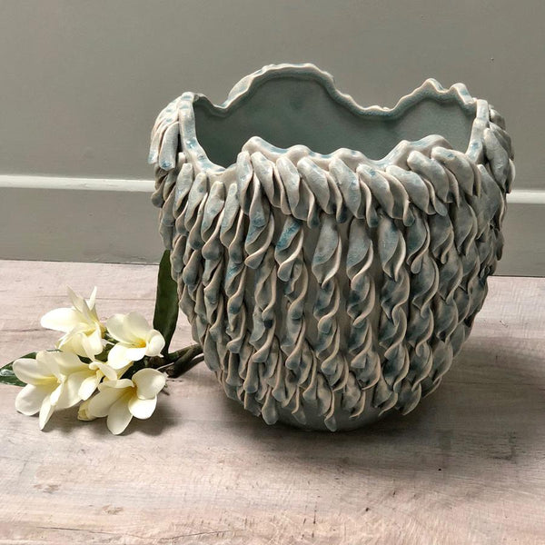 Soft Blue Falling Leaves Vase at the Farthing 2