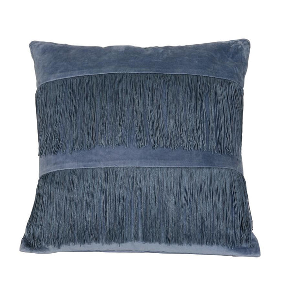 Soft Blue Velvet Fringe Cushion at the Farthing