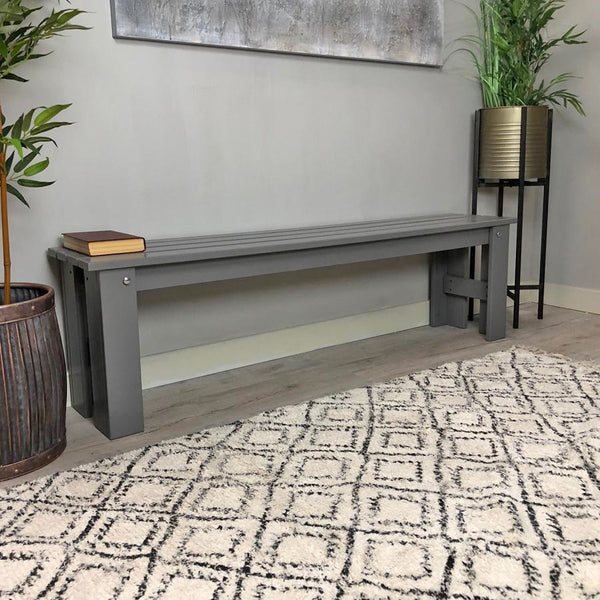 Soft Grey Wooden Indoor Outdoor Bench | Farthing
