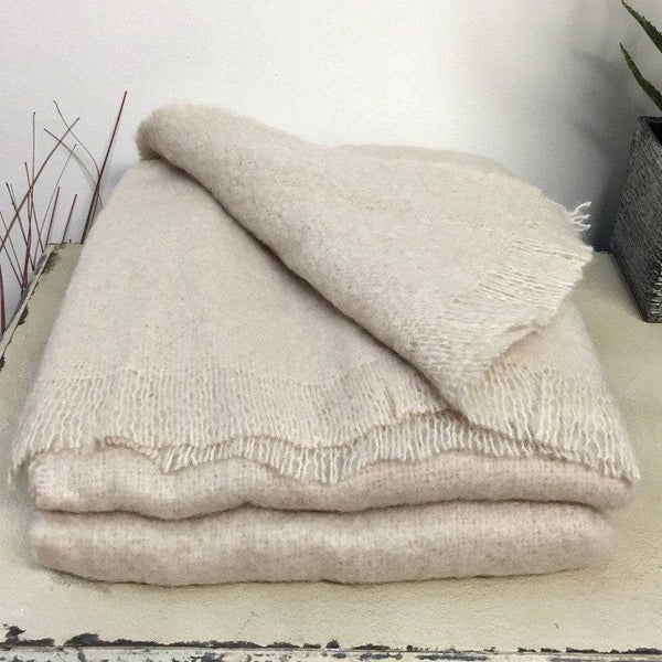 Soft Natural Mohair Throw - Champagne - The Farthing  - 1