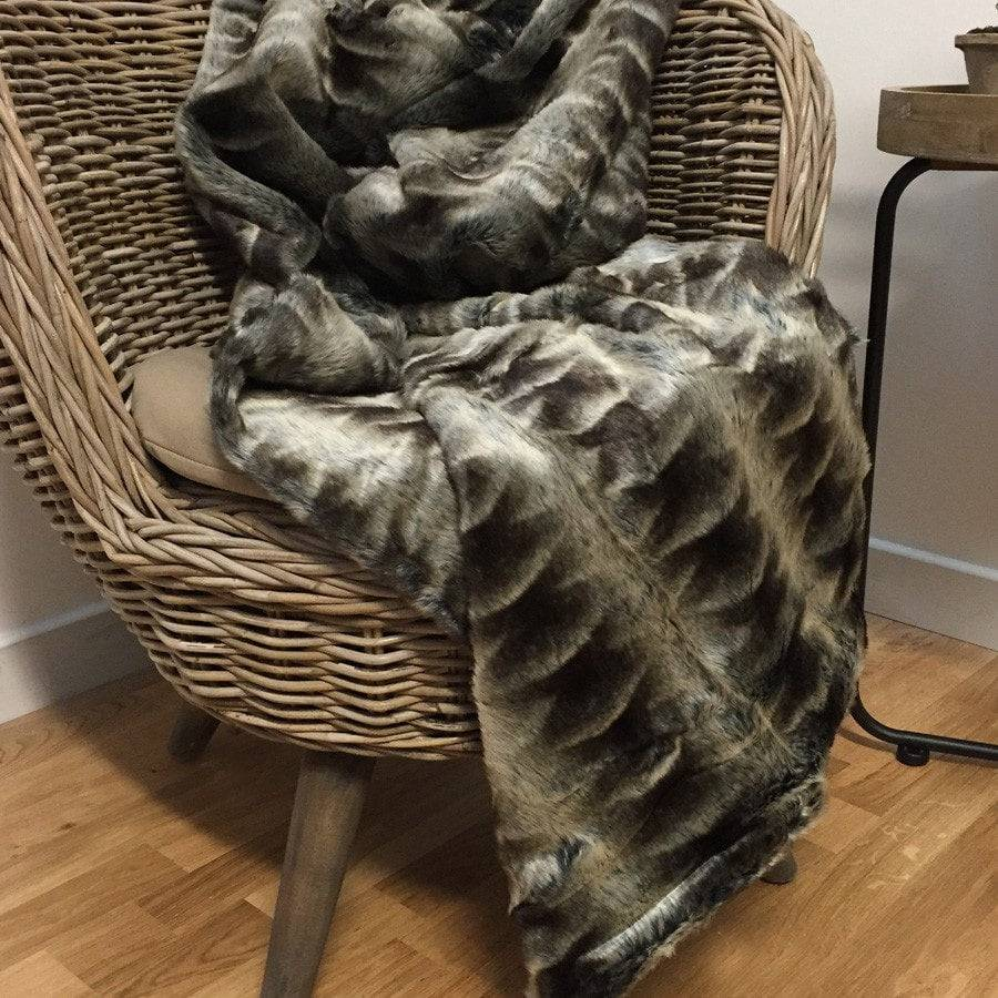 Soft Pile Faux Fur Striped Throw - Dark Wolf - The Farthing  - 1