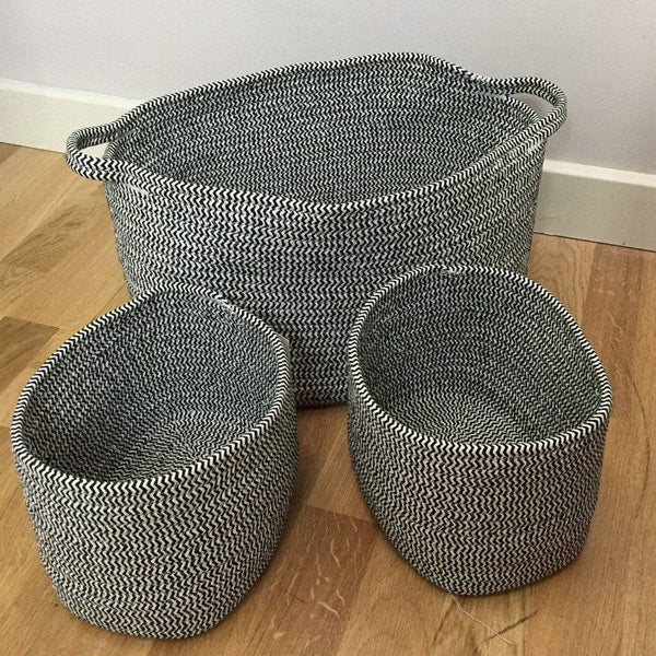 Soft Woven Cotton Storage Basket Set - The Farthing