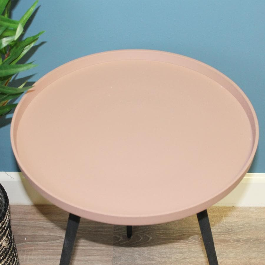 Soft Pink Metal Side Table at the Farthing 1