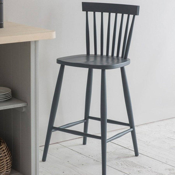 Spindle Bar Stool in Charcoal Grey - The Farthing