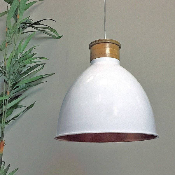 Spun Metal Factory Pendant - White with Copper Reflector